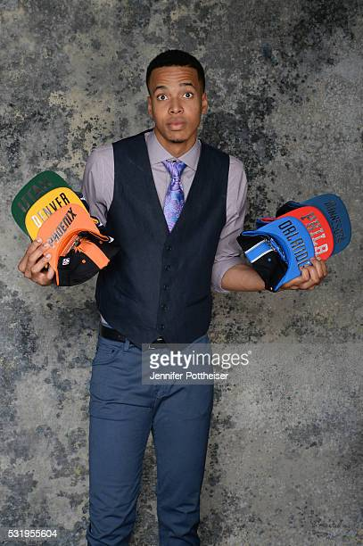 Draft Prospect Skal Labissiere poses for some portraits with some draft hats prior to the 2016 NBA Draft Lottery on May 17 2016 at the NBA...