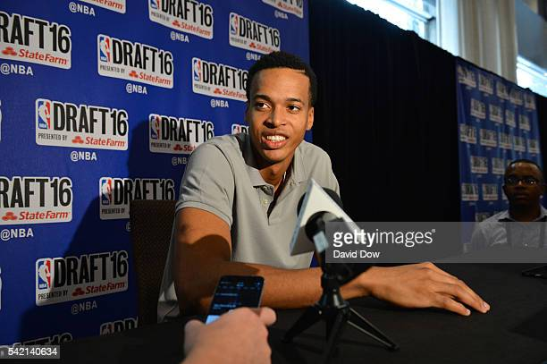 Draft Prospect Skal Labissiere speaks to the media during media availability as part of the 2016 NBA Draft on June 22 2016 at the Grand Hyatt New...
