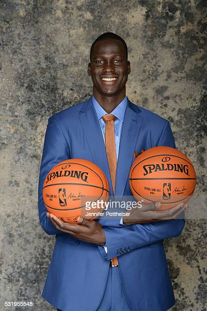 Draft Prospect Thon Maker poses for some portraits prior to the 2016 NBA Draft Lottery on May 17 2016 at the NBA Headquarters in New York City NOTE...