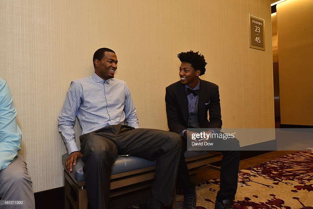 NBA Draft Prospect T.J. Warren and Elfrid Payton chats before media availability as part of the 2014 NBA Draft on June 25, 2014 at the Westin Times Square in New York City.