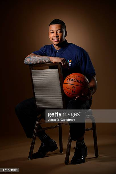 Draft Prospect Trey Burke poses for portraits during media availability as part of the 2013 NBA Draft on June 26 2013 at the Westin Times Square in...