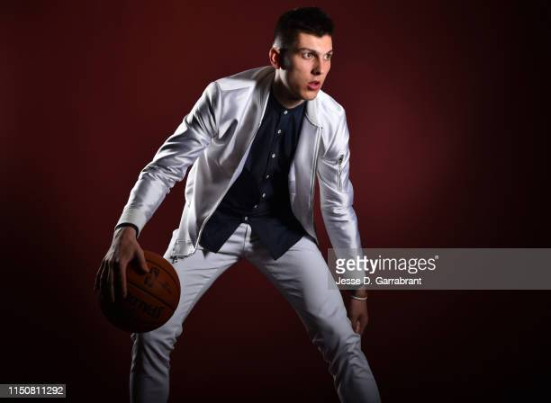 Draft Prospect Tyler Herro poses for portraits during media availability and circuit as part of the 2019 NBA Draft on June 19 2019 at the Grand Hyatt...