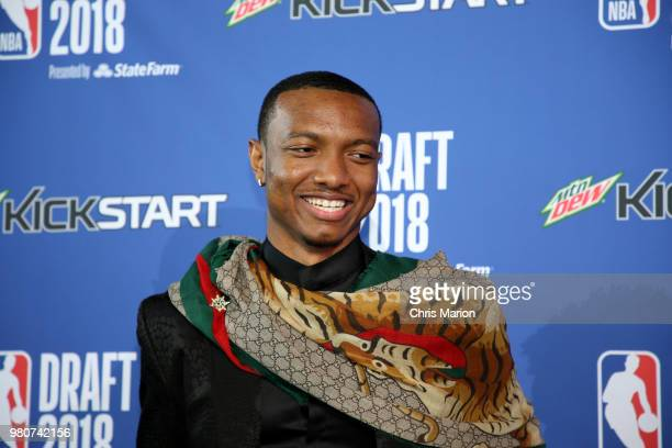Draft prospect Wendell Carter looks on during the Mtn Dew Kickstart Green Carpet on June 21 2018 at Barclays Center during the 2018 NBA Draft in...