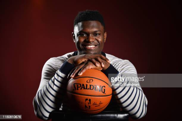Draft Prospect, Zion Williamson poses for portraits during media availability and circuit as part of the 2019 NBA Draft on June 19, 2019 at the Grand...
