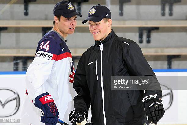 NHL draft prospects Auston Matthews and Jesse Puljujarvi smile as they participate in the Top Prospects Clinic at the Harborcenter on June 23 2016 in...