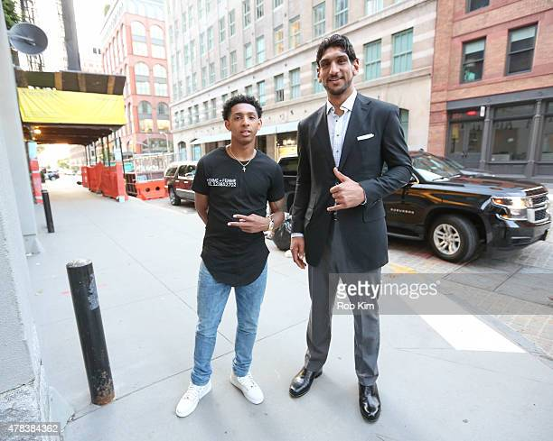NBA draft prospects Cameron Payne and Satnam Singh attend 'The Art Of The Game' Pop Up Art Installation Experience on June 24 2015 in New York City