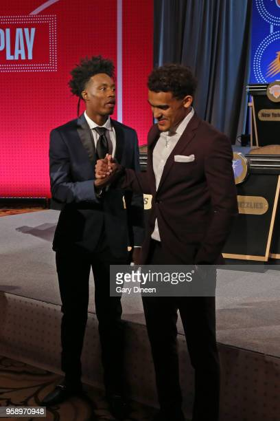 Draft Prospects Collin Sexton and Trae Young shake hands before the NBA Draft Lottery on May 15 2018 at The Palmer House Hilton in Chicago Illinois...
