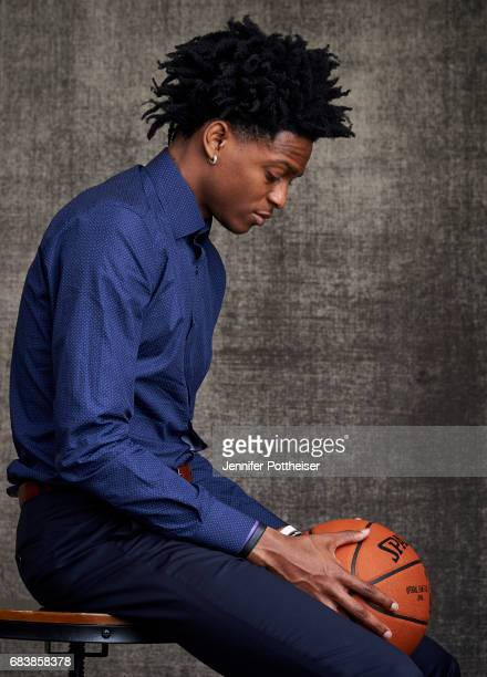 Draft prospects De'Aaron Fox poses for portraits prior to the 2017 NBA Draft Lottery at the NBA Headquarters in New York New York NOTE TO USER User...