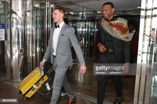 NBA draft prospects Donte DiVincenzo and Wendell Carter leave the hotel to attend the 2018 NBA Draft on June 21 2018 at Barclays Center in Brooklyn...