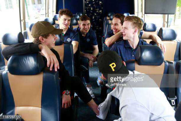 Draft prospects Jack Hughes Alex Turcotte Kirby Dach Dylan Cozens and Bowen Byram laugh while riding the bus to the 2019 NHL Draft Top Prospects...