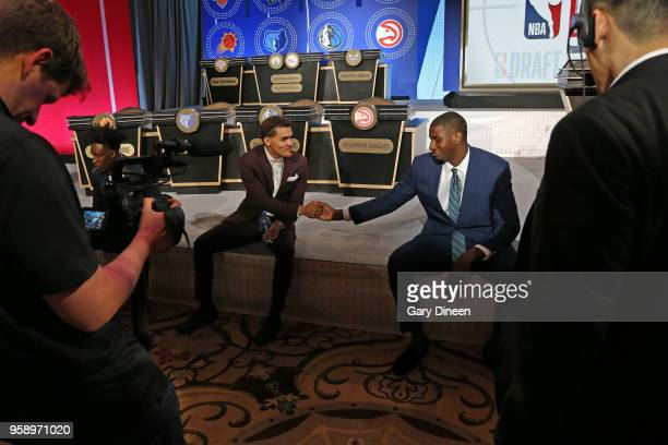 Draft Prospects Jaren Jackson Jr and Trae Young shake hands before the NBA Draft Lottery on May 15 2018 at The Palmer House Hilton in Chicago...