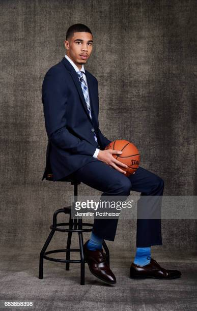 Draft prospects Jayson Tatum pose for portraits prior to the 2017 NBA Draft Lottery at the NBA Headquarters in New York New York NOTE TO USER User...