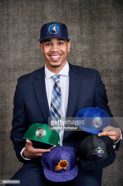 Draft prospects Jayson Tatum poses with draft caps for portraits prior to the 2017 NBA Draft Lottery at the NBA Headquarters in New York New York...