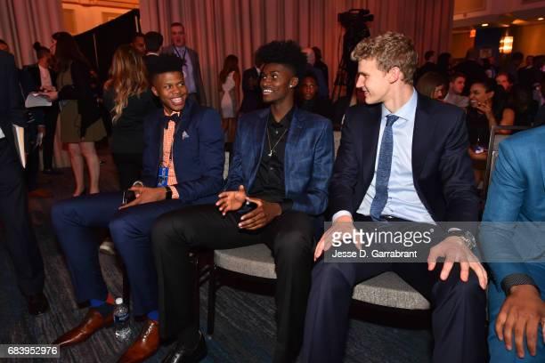 Draft Prospects Justin Patton Jonathan Issac and Lauri Markkanen attend the 2017 NBA Draft Lottery at the New York Hilton in New York New York NOTE...