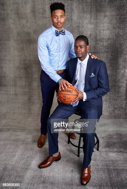 Draft prospects Markelle Fultz and Josh Jackson poses for portraits prior to the 2017 NBA Draft Lottery at the NBA Headquarters in New York New York...