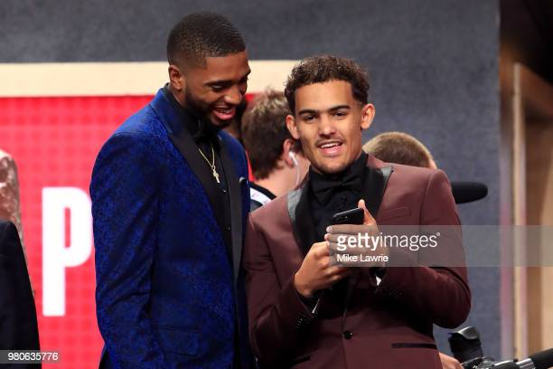 Draft Prospects Mikal Bridges and Trae Young look on before the 2018 NBA Draft at the Barclays Center on June 21 2018 in the Brooklyn borough of New...