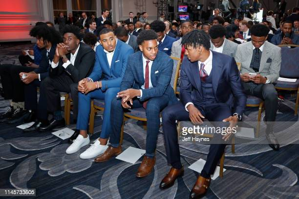 Draft Prospects Nassir Little Talen HortonTucker Darius Garland and Ja Morant talk at the 2019 NBA Draft Lottery on May 14 2019 at the Chicago Hilton...