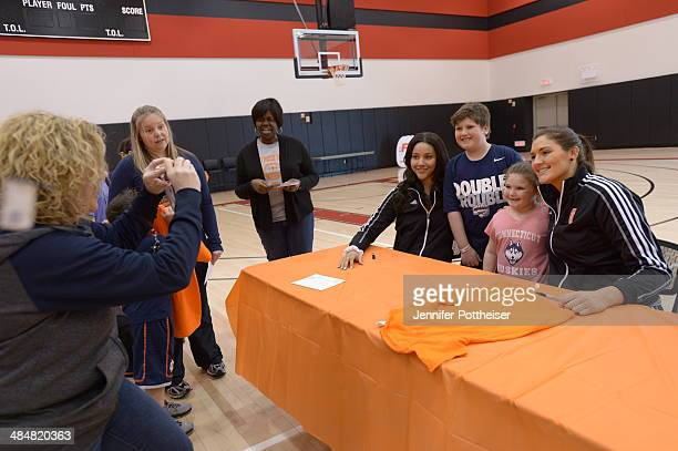 WNBA draft prospects Natalie Achonwa and Stefanie Dolson participate in a WNBA Clinic on April 13 2014 at ESPN in Bristol Connecticut NOTE TO USER...