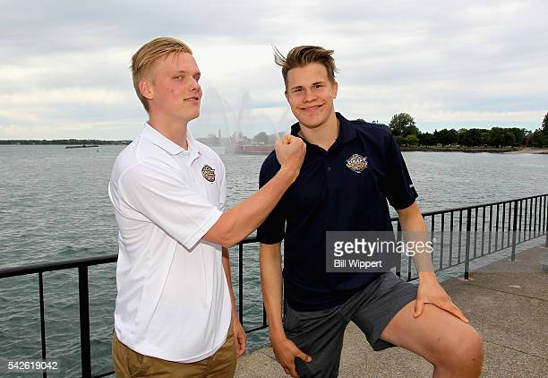 NHL draft prospects Olli Juolevi and Jesse Puljujarvi attends the Top Prospects Media Availability as part of the 2016 NHL Draft at the Erie Basin...