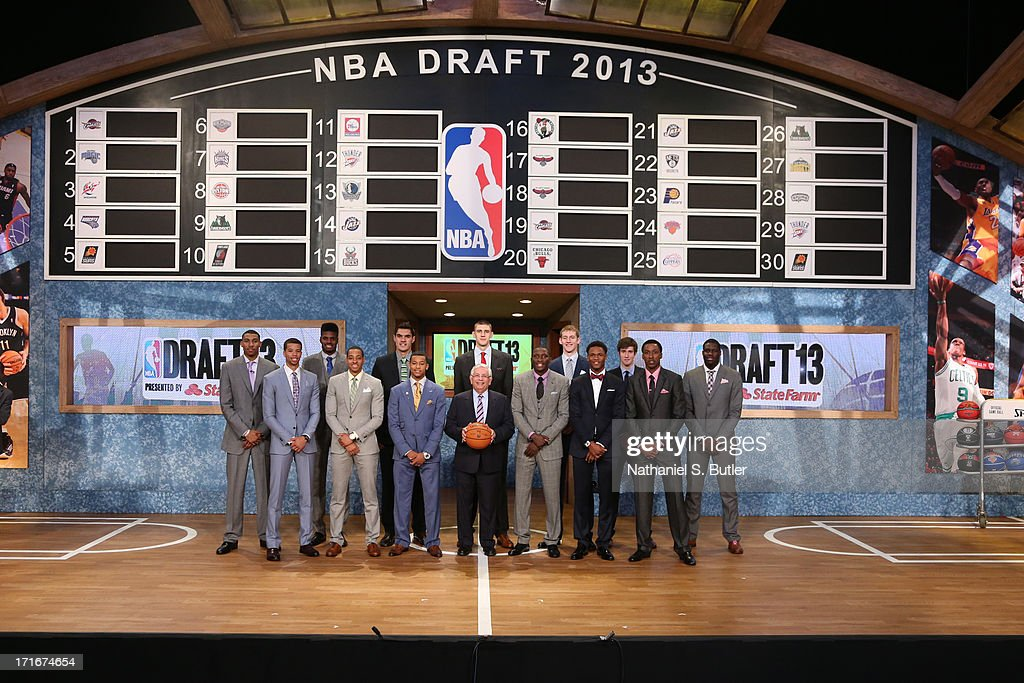 Draft Prospects Otto Porter, Michael Carter-Williams, Nerlens Noel, C.J. McCollum, Steven Adams, Trey Burke, NBA Commissioner David Stern, Alex Len, Victor Oladipo, Cody Zeller, Ben McLemore, Sergey Karasev, Kentavious Caldwell-Pope, Anthony Bennett poses for a group shot during the 2013 NBA Draft on June 27, 2013 at Barclays Center in Brooklyn, New York.
