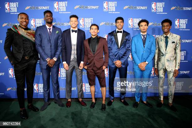 Draft prospects pose for a photo during the Mtn Dew Kickstart Green Carpet on June 21 2018 at Barclays Center during the 2018 NBA Draft in Brooklyn...