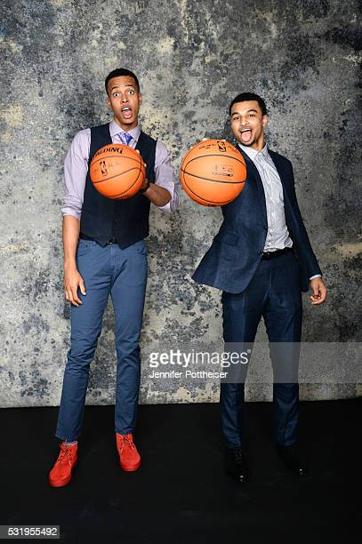 Draft Prospects Skal Labissiere and Jamal Murray poses for some portraits prior to the 2016 NBA Draft Lottery on May 17 2016 at the NBA Headquarters...