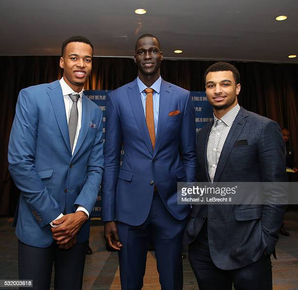 Draft prospects Skal Labissiere Thon Maker and Jamal Murray pose for a photo during the 2016 NBA Draft Lottery at the New York Hilton in New York New...