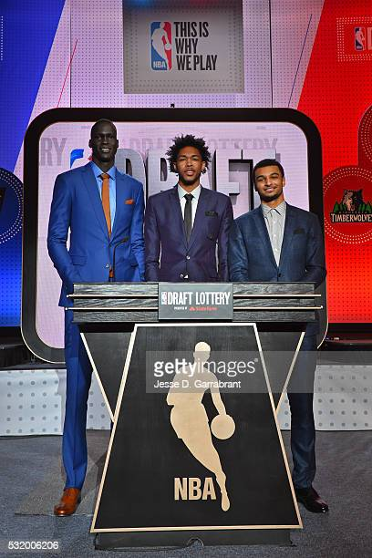 Draft Prospects Thon Maker Brandon Ingram and Jamal Murray pose for a photo during the 2016 NBA Draft Lottery at the New York Hilton in New York New...