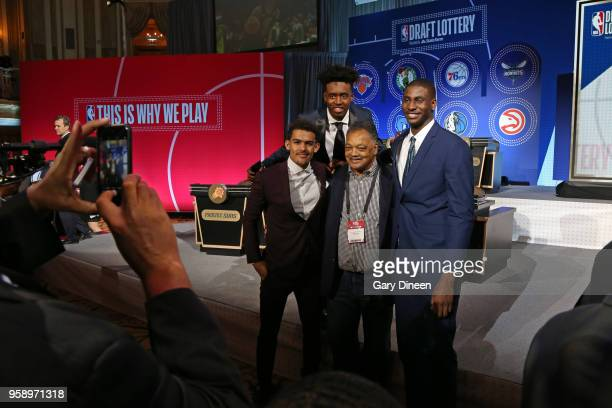 Draft Prospects Trae Young Collin Sexton and Jaren Jackson Jr pose for a photo with American civil rights activist Jesse Jackson talk before the NBA...