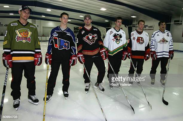 Draft prospects Wojtek Wolski, Alexandre Picard, Andrew Ladd, Kyle Chipchura, Cameron Barker; and Alexander Ovechkin at a junior clinic at Rec Zone...