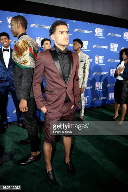 Draft ProspectTrae Young poses for a photo during the Mtn Dew Kickstart Green Carpet on June 21 2018 at Barclays Center during the 2018 NBA Draft in...