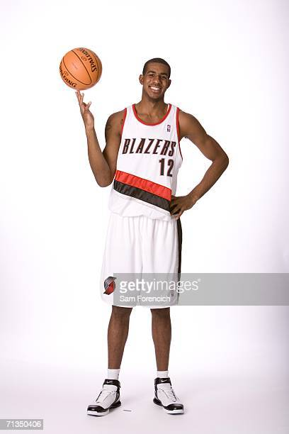 NBA draft selection LaMarcus Aldridge acquired by the Portland Trail Blazers poses for a photo June 28 2006 at the Rose Garden Arena in Portland...