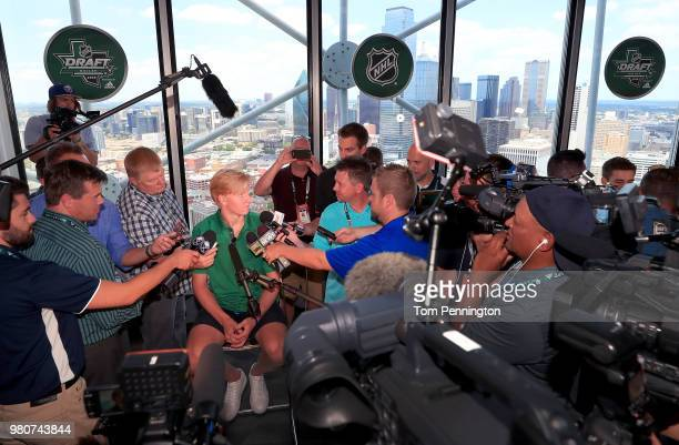 Draft top prospect Rasmus Dahlin of Sweden talks with the media at Reunion Tower ahead of the NHL Draft on June 21 2018 in Dallas Texas