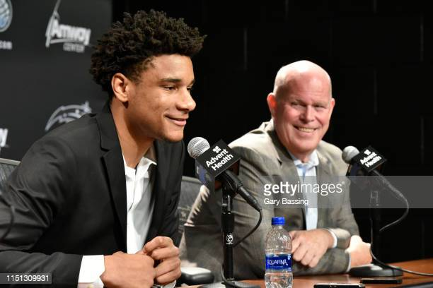 Draftee Chuma Okeke speaks with the meda during a press conference on June 21 2019 at Amway Center in Orlando Florida NOTE TO USER User expressly...
