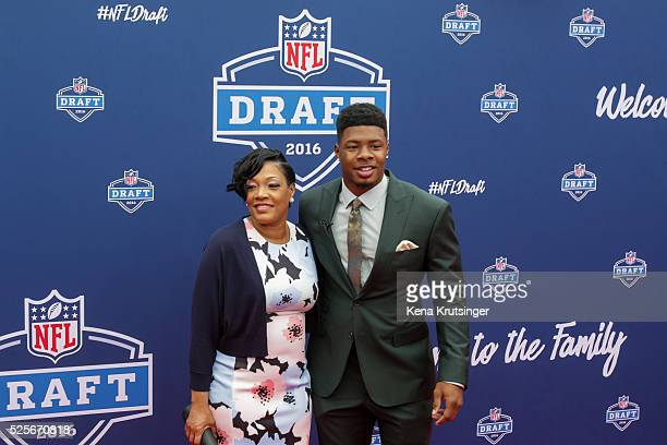 Draftee Corey Coleman of Baylor and his mother Cassandra Jones arrive at the 2016 NFL Draft on April 28 2016 in Chicago Illinois