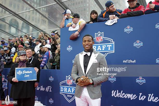Draftee Darron Lee of Ohio State arrives to the 2016 NFL Draft at the Auditorium Theatre of Roosevelt University on April 28 2016 in Chicago Illinois