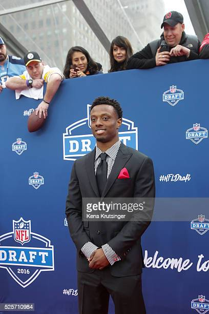 Draftee Eli Apple of Ohio State arrives to the 2016 NFL Draft at the Auditorium Theatre of Roosevelt University on April 28 2016 in Chicago Illinois