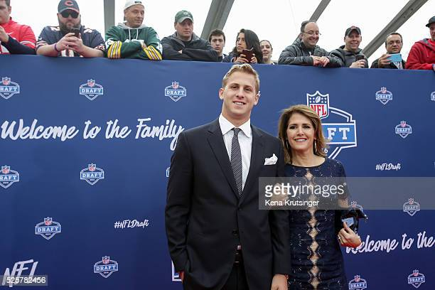 Draftee Jared Goff of California and mother Nancy arrive to the 2016 NFL Draft at the Auditorium Theatre of Roosevelt University on April 28 2016 in...