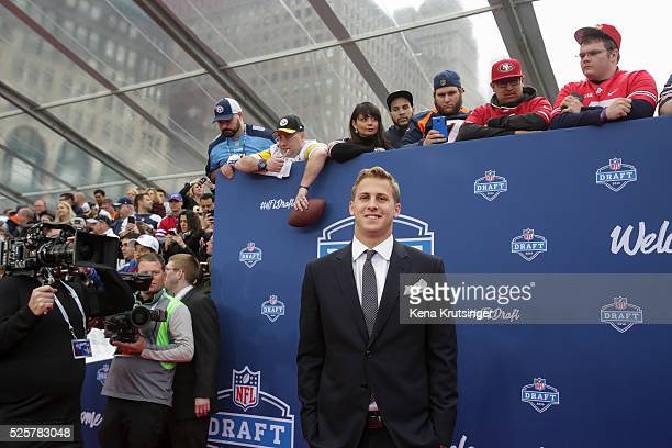 Draftee Jared Goff of California arrives to the 2016 NFL Draft at the Auditorium Theatre of Roosevelt University on April 28 2016 in Chicago Illinois