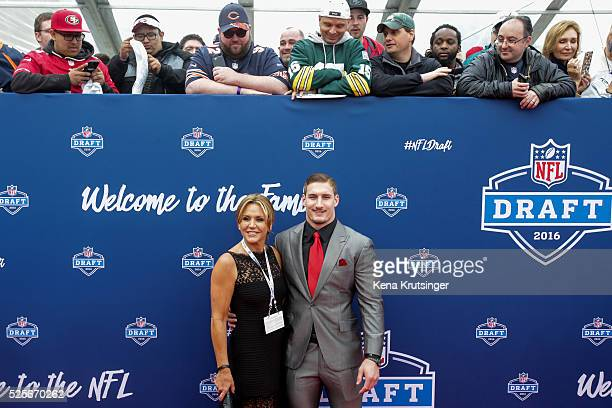 Draftee Joey Bosa of Ohio State with his mother Cheryl poses on the Red Carpet prior to the start of the 2016 NFL Draft on April 28 2016 in Chicago...