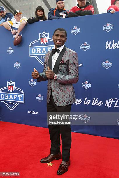 Draftee Laquon Treadwell of Mississippi arrives to the 2016 NFL Draft at the Auditorium Theatre of Roosevelt University on April 28 2016 in Chicago...