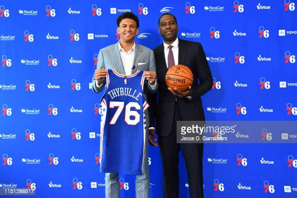 Draftee Matisse Thybulle poses for a photograph with Philadelphia 76ers General Manager Elton Brand during a press conference on June 21 2019 at the...
