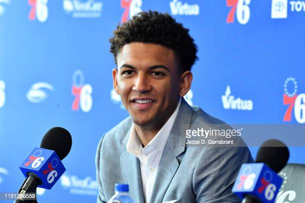 Draftee Matisse Thybulle speaks with the media during a press conference on June 21 2019 at the Philadelphia 76ers Training Complex in Camdem New...