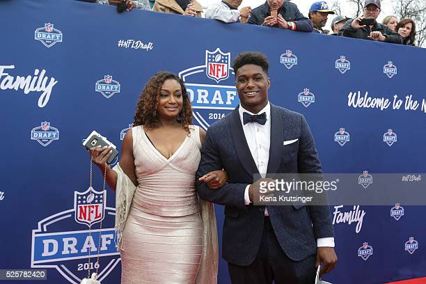 Draftee Myles Jack of UCLA and his mother La Sonjia Fisher Jack arrive to the 2016 NFL Draft at the Auditorium Theatre of Roosevelt University on...