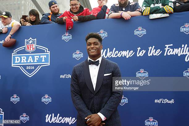 Draftee Myles Jack of UCLA arrives to the 2016 NFL Draft at the Auditorium Theatre of Roosevelt University on April 28 2016 in Chicago Illinois