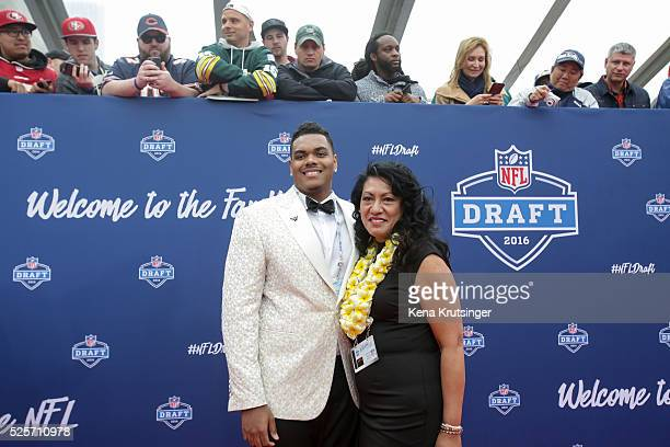 Draftee Ronnie Stanley and his mother Juli Stanley arrive to the 2016 NFL Draft at the Auditorium Theatre of Roosevelt University on April 28 2016 in...