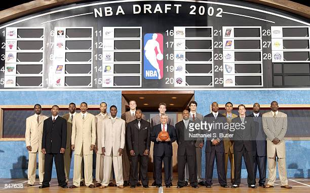 Draftees pose for a group portrait with NBA Commissioner David Stern prior to being selected from as follows Qyntel Woods Caron ButlerNene Hilario...