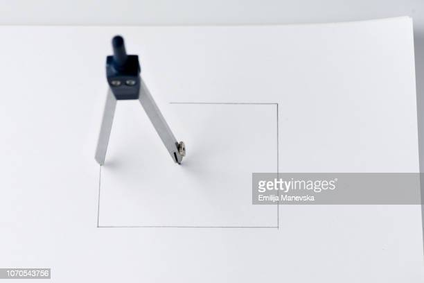 drafting compasses drawing square shape - drawing compass stock pictures, royalty-free photos & images