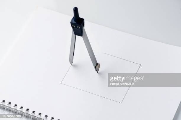 Drafting Compasses Drawing Square Shape