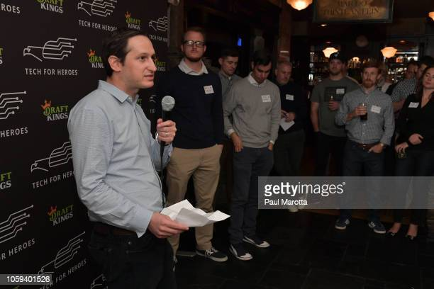 DraftKings CEO Jason Robins speaks at DraftKings Hosts Veterans Appreciation Event at MJ O'Connors on November 8 2018 in Boston Massachusett